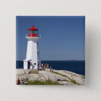 Lighthouse at Peggy's Cove, Nova Scotia, Canada. 15 Cm Square Badge