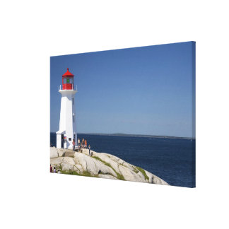 Lighthouse at Peggy's Cove, Nova Scotia, Canada. Stretched Canvas Print
