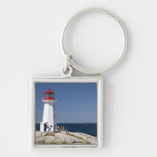 Lighthouse at Peggy's Cove, Nova Scotia, Canada. Silver-Colored Square Key Ring
