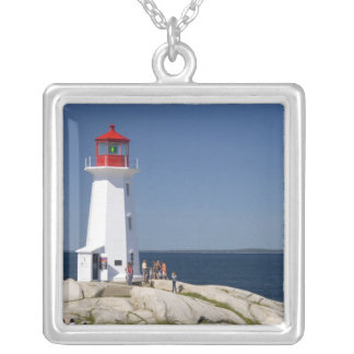 Lighthouse at Peggy's Cove, Nova Scotia, Canada. Silver Plated Necklace