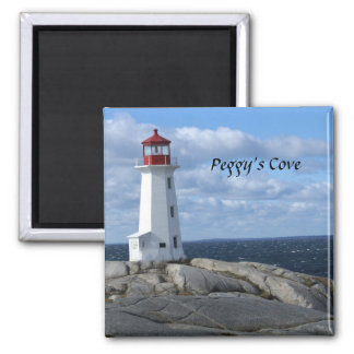 Lighthouse at Peggy's Cove Square Magnet