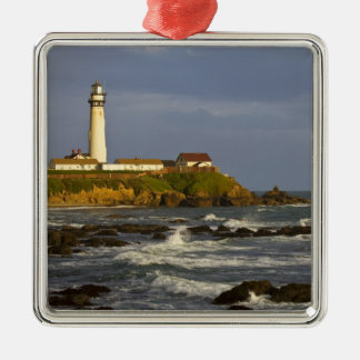 Lighthouse at Pigeon Point State Beach in San 2 Silver-Colored Square Decoration