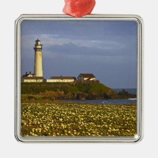 Lighthouse at Pigeon Point State Beach in San Silver-Colored Square Decoration