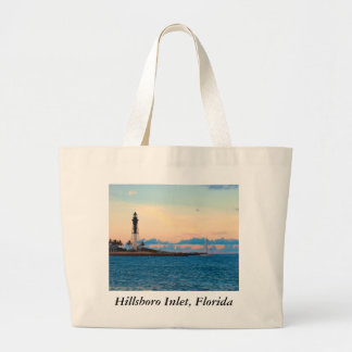 Lighthouse at Sunset Large Tote Bag