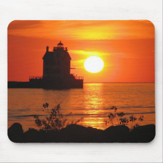 Lighthouse at sunset mousepad