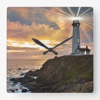 Lighthouse at Sunset Square Wall Clock