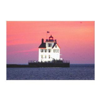 Lighthouse at Sunset Wrapped Canvas Print
