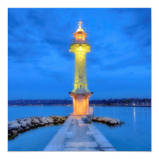Lighthouse at the Paquis, Geneva, Switzerland 13 Cm X 13 Cm Square Invitation Card