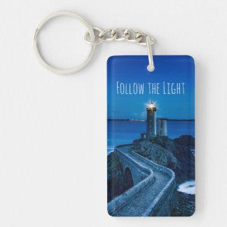 Lighthouse at Twilight Key Ring