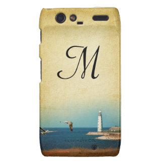 Lighthouse Beach Scene Monogram Motorola Razr Cas Droid RAZR Cover