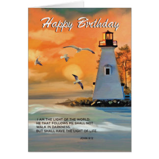 Lighthouse Birthday, Golden Sky, Religious Card