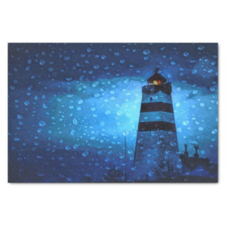 Lighthouse blue a rainy dark night with drops tissue paper