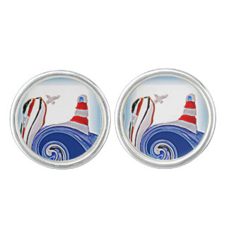 Lighthouse Boat on Stormy Abstract Seas Cuff Links
