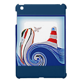 Lighthouse Boat on Stormy Abstract Seas iPad Mini Covers