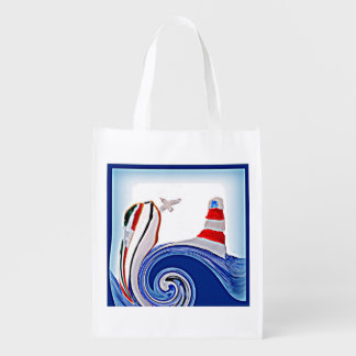 Lighthouse Boat on Stormy Abstract Seas Reusable Grocery Bag