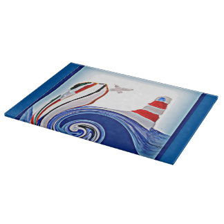 Lighthouse Boat on Stormy Seas Cutting Board