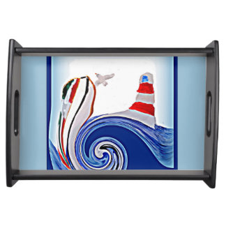 Lighthouse Boat on Stormy Seas Serving Tray