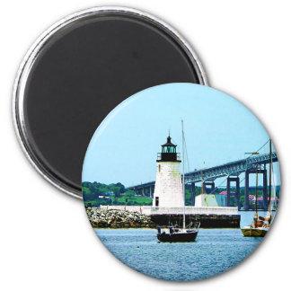 Lighthouse, Bridge and Boats, Newport, RI 6 Cm Round Magnet