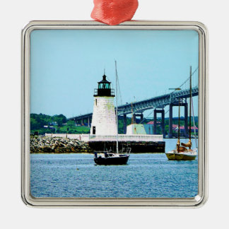 Lighthouse, Bridge and Boats, Newport, RI Christmas Ornament