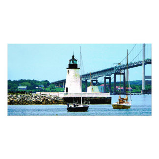 Lighthouse, Bridge and Boats, Newport, RI Photo Cards