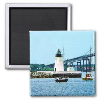 Lighthouse, Bridge and Boats, Newport, RI Square Magnet