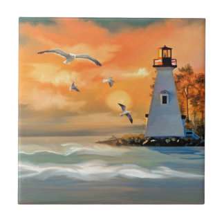 Lighthouse by sunset tile