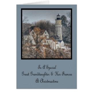 Lighthouse Christmas Great Granddaughter Fiancee Greeting Card