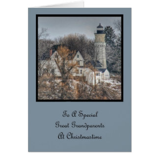 Lighthouse Christmas Great Grandparents Greeting Card