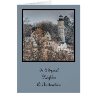 Lighthouse Christmas Neighbor Card