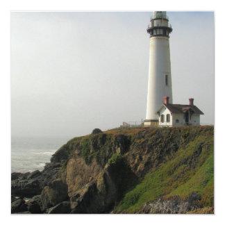 "Lighthouse Cliff  Invitations 5.25"" Square Invitation Card"