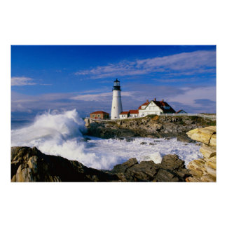 Lighthouse Crashing Waves Poster