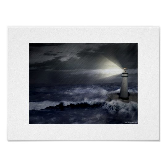 Lighthouse During Storm Poster