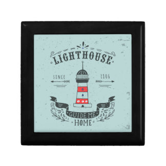 Lighthouse Guide Me Home Poster Small Square Gift Box
