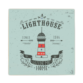 Lighthouse Guide Me Home Poster Wood Coaster