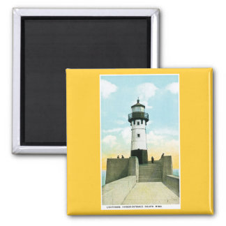 Lighthouse, Harbor Entrance, Duluth, Minnesota Square Magnet