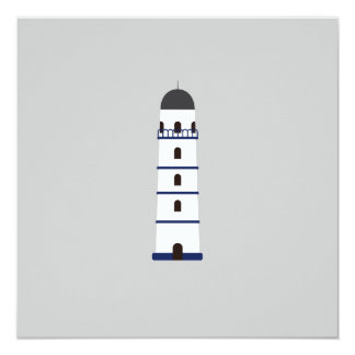 Lighthouse in blue, black,white and gray 13 cm x 13 cm square invitation card