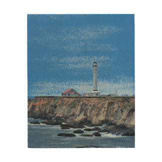 Lighthouse in blues on wood wood print