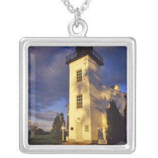 Lighthouse in Escanaba UP Michigan Silver Plated Necklace
