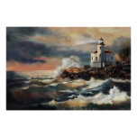 Lighthouse in evening glow poster