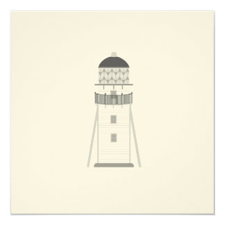 Lighthouse in gray an white 13 cm x 13 cm square invitation card