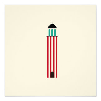 Lighthouse in red an white 13 cm x 13 cm square invitation card