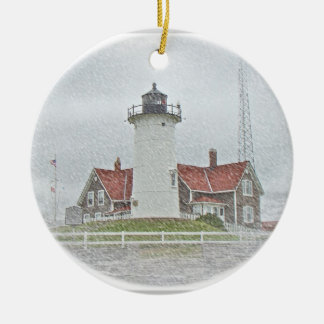Lighthouse in Snow Merry Christmas Christmas Ornament