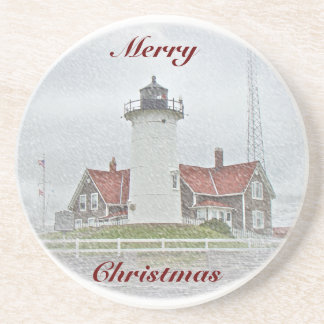 Lighthouse in Snow Merry Christmas Coaster
