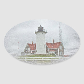 Lighthouse in Snow Merry Christmas Oval Sticker