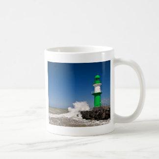 Lighthouse in Warnemuende on the Baltic Sea coast Basic White Mug