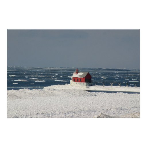Lighthouse In Winter Poster
