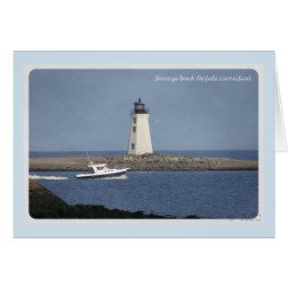 Lighthouse Jennings Beach Fairfield Connecticut Card