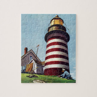 Lighthouse Keeper by Stevan Dohanos Jigsaw Puzzle