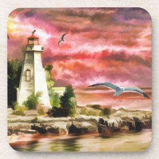 Lighthouse Ocean Coast At Sunset, Plastic Coasters