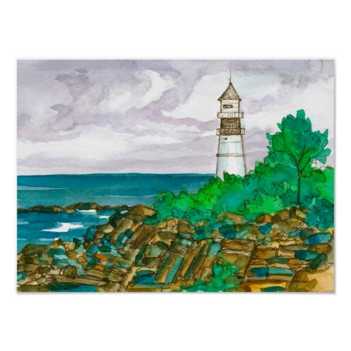 Lighthouse Ocean Watercolor Painting Poster